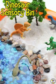 Are your kids learning all about dinosaurs? Then, you have to add this Dinosaur Sensory Bin to your unit. This open-ended, sensory activity is a fun way for children to play, use their imaginations, and explore what they are learning. Most importantly, your kids will have fun! Click on the picture to learn how to set-up and use this dinosaur sensory play activity! You can get the free printable dinosaur flashcards! #sensorybin #dinosaurs #sensoryactivity #sensoryplay #dinosaursensorybin