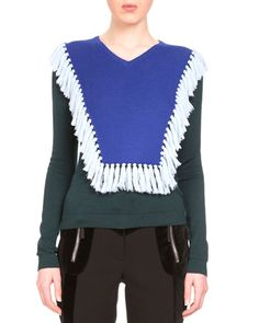 Ming Fringe-Bib Colorblock Sweater, Emerald