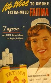 Vintage Cigarette Ad    It's Wise to smoke, and Nurse Shirley Agrees...