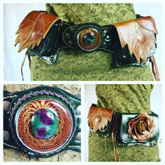 Third eye Pinecone rose and leaf leather beltbag by Naytures Empire