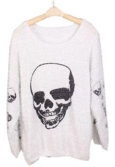 Quiero uno asi!!!!                                     White Long Sleeve Skull Print Mohair Sweater
