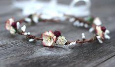 Burgunder Elfenbein Flower Crown Headpiece Landhaus Floral