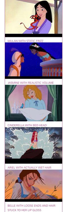 Disney princesses with realistic hair haha