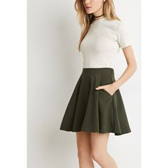 Forever 21 Women's  Pleated A-Line Skirt ($15) via Polyvore featuring skirts, elastic waist skirt, forever 21 skirts, knee length pleated skirt, pleated skirt and pleated a line skirt