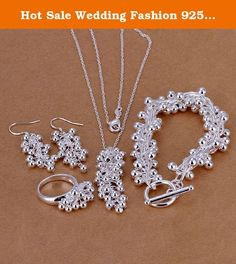 Hot Sale Wedding Fashion 925 Silver Plated Jewelry Set Hand Chain Bracelet Necklace Ring Hook Earings Eardrop Grapes Beads. 1pcs for each.