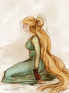 Costume Design Sketch of Rapunzel by Claire Keane, for Disney Animation Studios. Disney Tangled, Art Disney, Tangled 2010, Disney Movies, Tangled Concept Art, Disney Concept Art, Art Et Illustration, Illustrations, Claire Keane