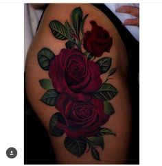 Thigh rose tattoo by @cheeseburgerchampion
