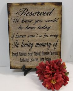 Wedding Sign Reserved Loving Memory Memorial We know you would be Here Today if Heaven Wasn't so Far Away Rustic Country Country barn style