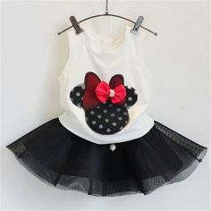 Minnie Bow Black & White Girl Set
