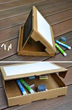 Mommo design with a pizza box Projects For Kids, Diy For Kids, Crafts For Kids, Diy Projects, Cardboard Toys, Cardboard Furniture, Pizza Box Crafts, Art Party, Creative Play
