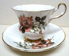 Royal Windsor England Set Cup Saucer Fine Bone China Gold Accents Vintage | eBay
