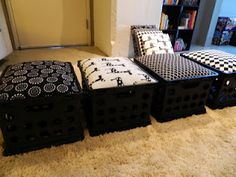DYI...Crate chairs for my classroom.  Comfy seats with storage underneath.