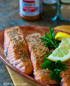 Baked Crusted Salmon - A simple yet super flavorful way to cook salmon. Just minutes to prepare and the salmon comes out incredibly tender!