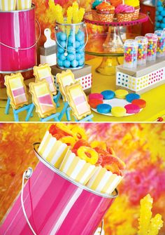 Super SWEET & Colorful Art Birthday Party // Hostess with the Mostess® - art party - Art Birthday, Birthday Parties, Birthday Ideas, Kids Art Party, Bar A Bonbon, Neon Party, Paint Party, Childrens Party, Decoration