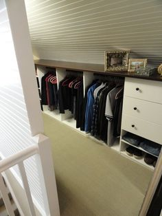 Slanted closet wall idea.