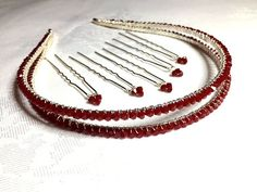 Dark red Coral Swarovski Crystal Tiara by Makewithlovecrafts Bridal Accessories, Bridal Jewelry, Bridesmaid Outfit, Swarovski Pearls, Red Coral, Red Wedding, Clear Crystal, Dark Red, Hair Band