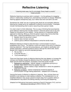 """Reflective Listening """"Listening looks easy, but it's not simple. Every head . Counseling Activities, School Counseling, Family Therapy Activities, Counseling Worksheets, Communication Activities, Social Work, Social Skills, Reflective Listening, Counseling Techniques"""