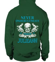 # JULIEANN NEVER UNDERESTIMATE .  JULIEANN NEVER UNDERESTIMATE  A GIFT FOR THE SPECIAL PERSON  It's a unique tshirt, with a special name!   HOW TO ORDER:  1. Select the style and color you want:  2. Click Reserve it now  3. Select size and quantity  4. Enter shipping and billing information  5. Done! Simple as that!  TIPS: Buy 2 or more to save shipping cost!   This is printable if you purchase only one piece. so dont worry, you will get yours.   Guaranteed safe and secure checkout via…