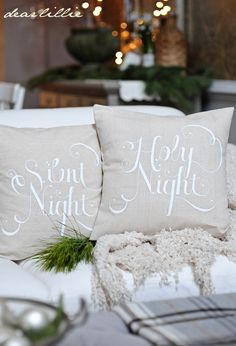 Silent/Holy Night Pillow Cover Set in White