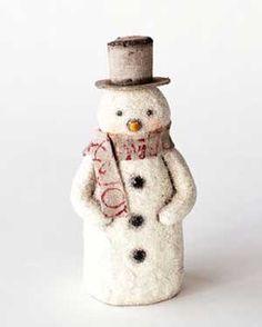 Natural Snowman Figure - Vintage looking!