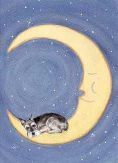 Schnauzer sleeping on Moon cropped ears / Lynch by watercolorqueen, $12.99