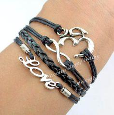 Yoga braceletInfinity braceletLove braceletWax Cords by vividiy, $4.59