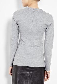 Grey Long Sleeve Peplum Top by 3.1 Phillip Lim