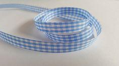 3m Ribbon - Gingham Check - 10mm - Pale Blue