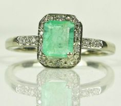 I've found what I want for St.Patrick's Day :-)    - Vintage White Gold ring with Emerald and Diamonds.