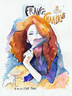 """This girl's work is amazing! Watercolor Fashion Illustration Print 8"""" x 10"""" - French Champagne"""