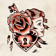 Old School Tattoo Flash, love the rose on this