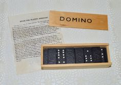 Wood Domino Game Wooden Box Lidded Vintage Wood by WVpickin