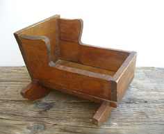 Antique Vintage Wooden Baby Doll Cradle