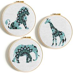 Mandala animals cross stitch Set of 3 pattern, Elephant, Lion, Giraffe cross stitch pattern Easy cross stitch http://etsy.me/2Cyaq19 #babyshower #mothersday #crossstitch #elephantcrossstitch #crossstitchpattern #animalcrossstitch #mandalacrossstitch #nikkipatternonetsy