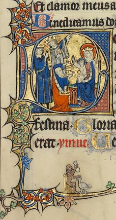 Adoration of the Magi (detail), from the Ruskin Hours, French, about 1300. J. Paul Getty Museum