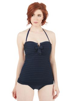 Shore Thing One-Piece Swimsuit in Navy | Mod Retro Vintage Bathing Suits | ModCloth.com