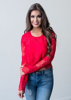 814cebe0f35e08 Dance Forever Long Sleeve Lace Top Red - Modern Vintage Boutique Red Lace  Top