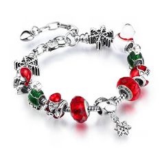 2015 Christmas Bracelet With Santa Claus Charms Jewelry 925 Silver Glass Beads…