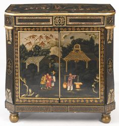 A fine and rare Regency polychrome-japanned Chinoiserie papier-mâché and tôle side cabinet, probably Pontypool, the design attributed to Frederick Crace circa 1810.