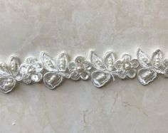 beads and sequined Ivory lace trim, beading cord lace trim, bridal lace trim