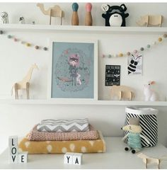 A lot to love on this multiple Shelfie. Felt ball garlands, bunny night light & a gorgeous collection of little treasures. Adorable styling