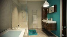 Salle de bain bleu turquoise et noir : La salle de bain du rez-de-chaussée (Graph Synergie)