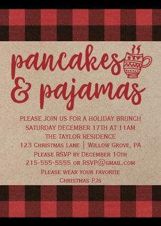 Red Buffalo Plaid Pancakes and Pajamas Party Card Christmas Party Themes, Christmas Brunch, Christmas Games, Xmas Party, Christmas Activities, Little Christmas, Family Christmas, Christmas Traditions, Christmas And New Year