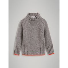 Ditch the slanted cable - but otherwise: interesting lines! Merino Wool Blend Turtleneck Sweater in Mid Grey Knit Fashion, Look Fashion, Fashion Outfits, Designer Childrenswear, Knitting Designs, Kind Mode, Sweater Weather, Pulls, Grey Sweater