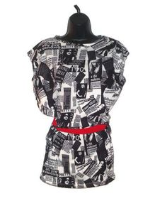 Newspaper Print Fashion Tunic with Red Waist Tie Junior Clothes Large. $20.00, via Etsy.