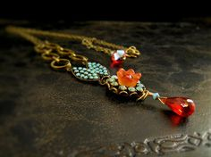 MicroMosaic Necklace in Turquoise, Tangerine and Burnt Orange. . . by Mia Montgomery