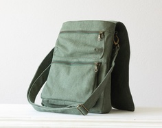 Mens Messenger bag , backpack bag , shoulder bag  in green cotton canvas . via Etsy.