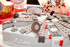 starwars lego themed party | Lego Star Wars birthday party millennium falcon cake