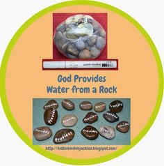"""For this lesson, I purchased this bag of smooth rocks at the Dollar Tree. (Remember to keep the mesh bag for fish net projects for the kids) I had the white paint marker from another project purchased at Hobby Lobby. I wrote 'PROVIDES"""" on them. I will let the kids pick a rock, and write """"GOD"""" on the other side with a Sharpie. Kids love rocks! I also hand out a mini bottle of water."""
