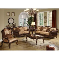 This sofa and loveseat set reflects an elegant style, featuring decorative craving on the sofa back crown and base rail. The throw pillows enhance this classic